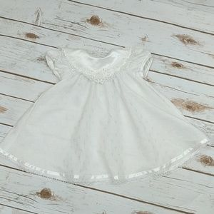 White Lace and Beaded Cross Baptism Dress